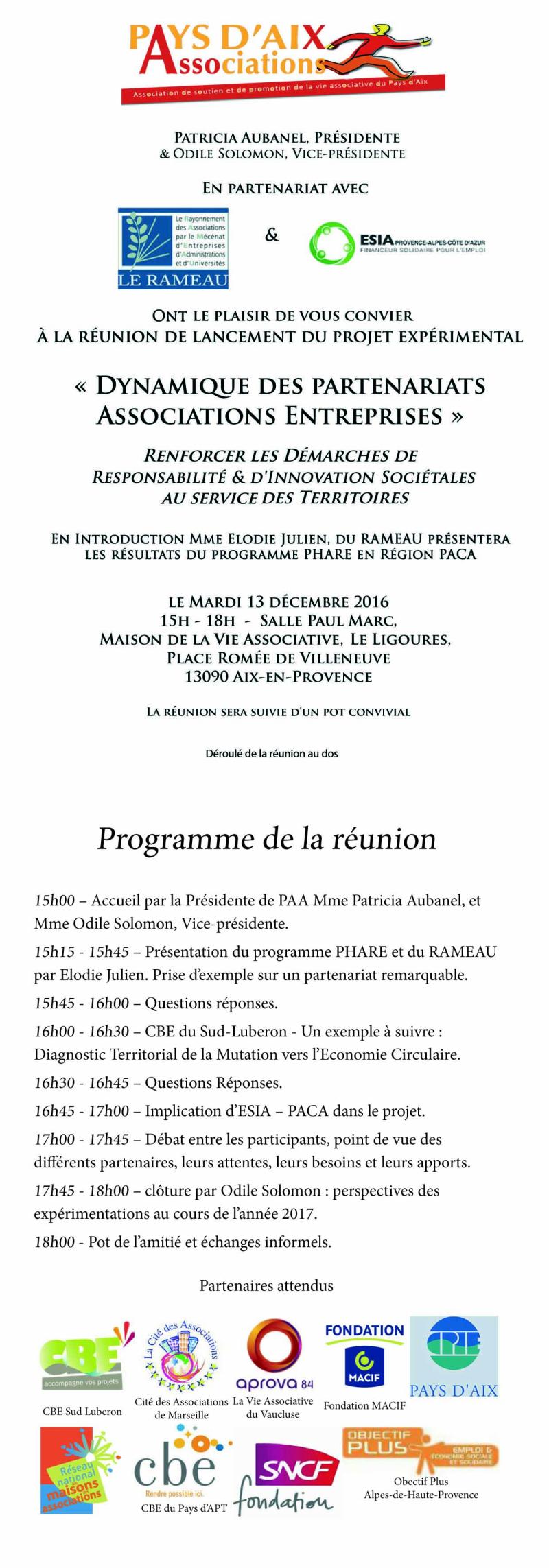 RAMEAU PAA ESIA invitation 13 decembre 2016 recto verso L